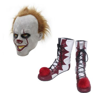 Cool Hot sale Stephen King's It Pennywise Cosplay Shoes and Mask  Horrible Clown Boots Custom Halloween Christmas AccessoriesAT_93_12