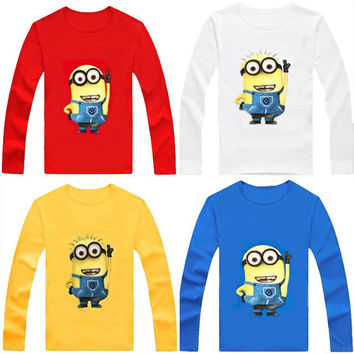 Brand New 100% Cotton boys t shirt despicable me 2 minion short t-shirts kids baby children t shirts child long sleeve clothes