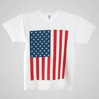 Us Flag Print Power Washed Tee