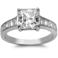 Sterling Silver CZ Princess Cut Engagement Ring size 5-11