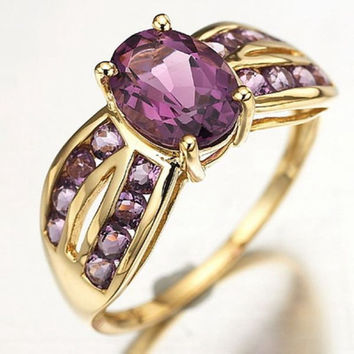 Purple Amethyst 10K Gold Filled Solitaire Friendship Love Promise Fancy Ring
