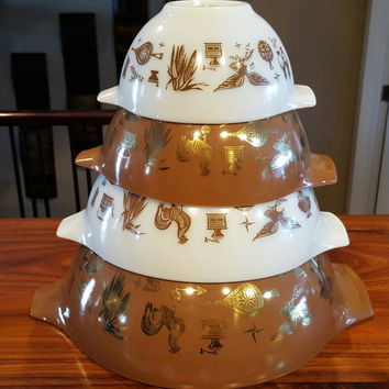 Vintage Early American Pyrex Cinderella Set, 441 to 444, White, Brown and 22 Karat Gold, Early Canadian, Homestead-Good Condition, 1962-1971