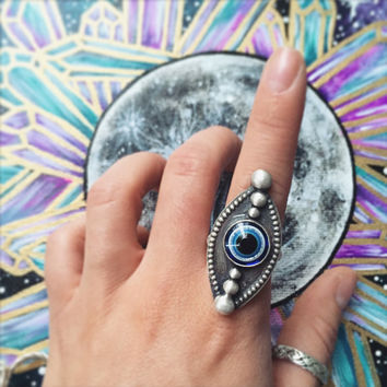 Sterling Silver Evil Eye Ring Size 7.75