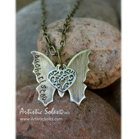 Custom Metal Stamped Eucharisteo Necklace by Artistic Soles