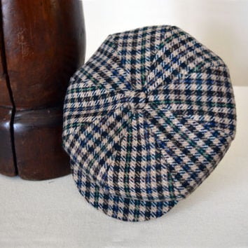 Beige Plaid Patterned Tweed Newsboy Cap - Pure Wool Tweed Handmade Eight Piece / Bakerboy / Apple / Newsboy / Flat Cap - Men Women