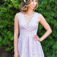 Yvette Lavender Lace Dress