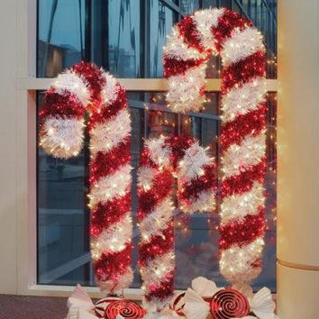 Candy Cane Christmas Yard Art - 100 Red And Clear Mini Lights