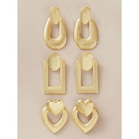 3pairs Textured Geometric Earrings Set