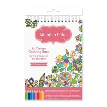 Living In Color  Art Therapy Coloring Book 100 Designs (A5) 5.7in x 8.6in, a creative outlet for hours of fun and calming mindfulness, Gardenia Designs