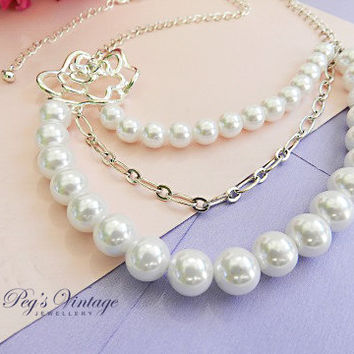 Vintage Bridal Faux Pearl Necklace//Silver Flower Pendent Multi Strand Necklace/Choker