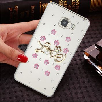 Luxury 3D fox rose bling Crystal Mobile phone Shell Transparent Back Cover Skin Hard Case For Nokia Lumia 535 N535