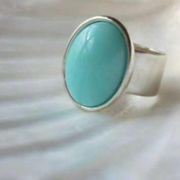 Aquamarine Cocktail Ring Chunky Adjustable by urbansoutherncharm