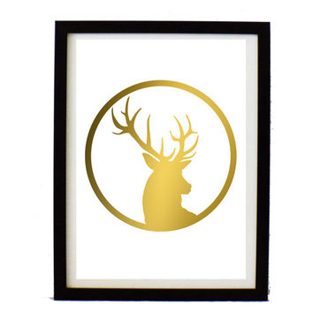 Printable Gold deer head Poster  - Large deer head poster - instant download print - Digital art print - Modern art decor - white and gold