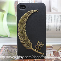Cell Phone Hard Case With Brass Owl Leaf for iPhone 4,iPhone 4s