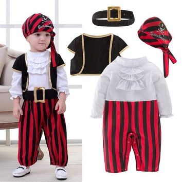 Cool Pirate Captain Cosplay Clothes for Baby Boy Halloween Christmas Fancy Clothes Halloween Costume for Kids Children Pirate CostumeAT_93_12
