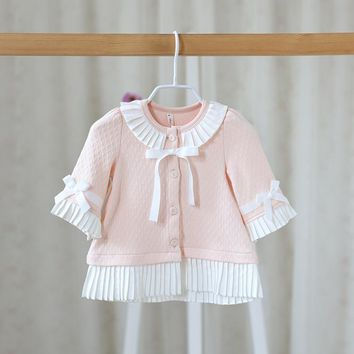 2016 New Spring Autumn Baby Girl Jacket O-Neck Long Flare Sleeve Single Breasted Cotton Baby Girls Cardigan Long For 0-2T