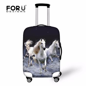 FORUDESIGNS Elastic Dustproof Travel Luggage Protective Cover Suitcase rRain Cover Animal Zoo Crazy 3D Horse Trolley Case Covers