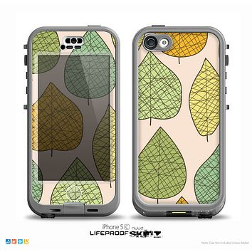 The Abstract Pastel Lined-Leaves Skin for the iPhone 5c nüüd LifeProof Case