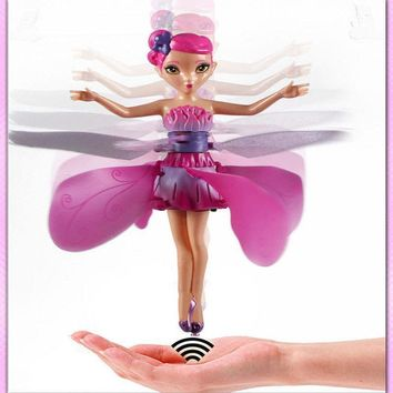 Plastic Funny Game Flying Fairy Princess Doll Helicopter Infrared Induction Toys RC Heli