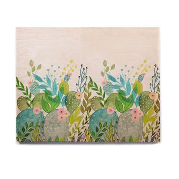"Li Zamperini ""Cute Foliage"" Multicolor Teal Watercolor Birchwood Wall Art"