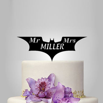dark knight wedding cake topper, disney wedding cake topper, funny cake topper, personalize wedding cake topper, mr and mrs cake topper