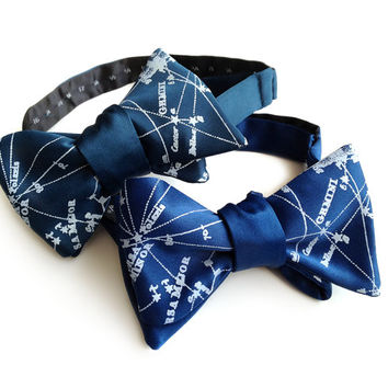 Galaxy bow tie. Milky Way star chart tie. Constellation freestyle bowtie. Ice print. Peacock blue, french blue & more. Adjustable.