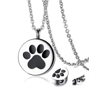 Paw Print Pet Urn Pendant Necklace for Men Women Stainless Steel Silver Tone Ashes Holder Cremation Jewelry 20 inch