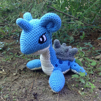 Pokemon Inspired: Lapras Amigurumi  (Crochet Plushie/Plush Toy) in normal or shiny colors!  - MADE TO ORDER!