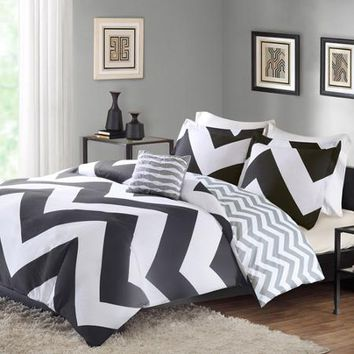 Better Homes and Gardens Chevron Bedding Duvet Cover Set, Black - Walmart.com