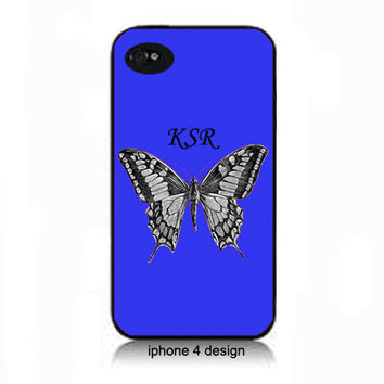 Blue Butterfly Monogram iphone 4  cell phone accessory case, iphone cover