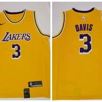 Nike Los Angeles Lakers 3 Anthony Davis Basketball Jersey Yellow Swingman