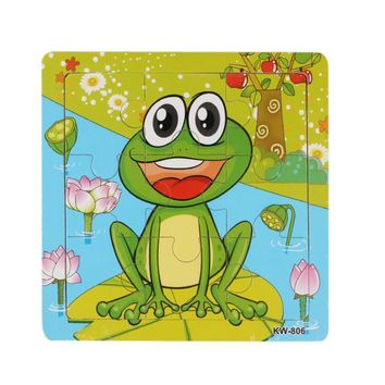 2016 Hot Sell good Quality Animal Puzzle Frog Pattern Puzzles Wooden Toy Kids Children Education Brain Teaser Puzzles Toys
