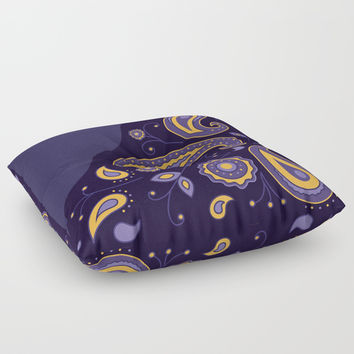 Paisley Purple Pattern Floor Pillow by ArtGenerations