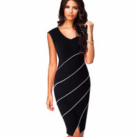 Casual Women Sheath Fitted Sleeveless Bodycon Pencil Dress Elegant Classic V Neck Split Summer Dress -0331