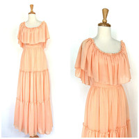 70s Maxi Dress / 1970s dress / off the shoulder / grecian / prom gown /  flutter / peach dress / bridesmaid / bridal gown / S