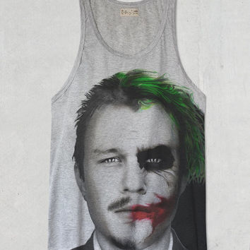 Joker Heath Ledger Batman The Dark Knight  Large Grey tank top
