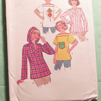 Sale Uncut 1970's Simplicity Sewing Pattern, 7851! Size 16 Bust 38 Women's/Misses/Hooded Jackets/Hoodie/Short Sleeve or Long Sleeve Hippie S