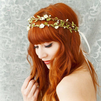Boho bridal crown flower hair wreath woodland by gardensofwhimsy
