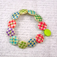 Gingham Check Wooden Button Bracelet, Non Metal Jewelry
