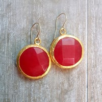 sweet gemstone fashion MEDIUM SIZE earrings bright candy classic  passion red jade stone  textured gold statment earrings israel jewelry