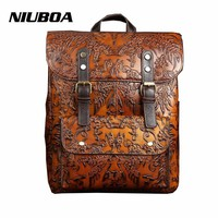 NIUBOA High Quality Women Embossed Backpack 100% Genuine Leather Teenager School Bag Vintage Natural National Travel Laptop Bags