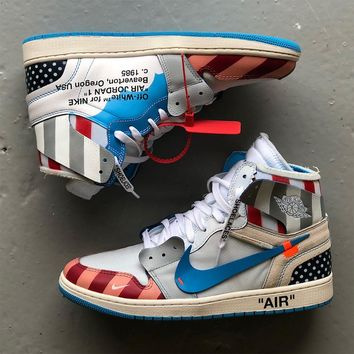 Parra x Off-White x Air Jordan 1 Custom High Sneakers - Best Deal Online
