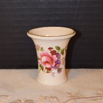 Royal Crown Derby Posies Toothpick Holder Vintage English Bone China Shabby Chic Toothpick Holder Vase Trumpet Style Cottage Chic Decor
