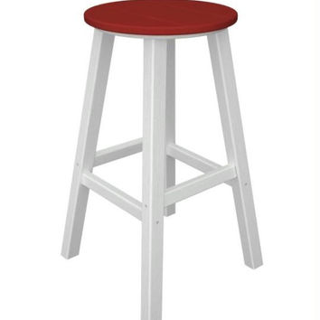 2 Bar Stools - Candy Red With White Legs