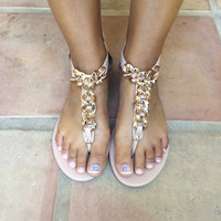 Nude Josalyn-01 Chain Link Sandals