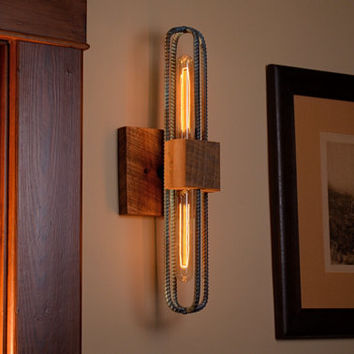 Industrial Rebar and Barn Wood Sconce/Vanity Light in Rubbed Blue Finish. Free Shipping