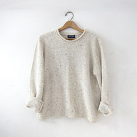 vintage speckled cream sweater. loose knit sweater. cropped preppy sweater. basic sweater.