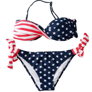 Women's Padded Twist Bandeau Bikini Set USA American Flag Swimsuit = 1956835588