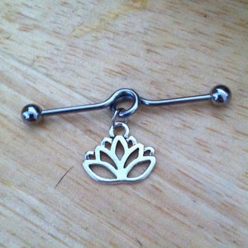 Industrial Barbell - Lotus Flower Industrial Barbell - Lotus Industrial Piercing