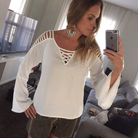 White Cut Out Long-Sleeve Blouse